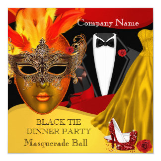 Black Tie Corporate Formal Masquerade Ball 3 Card