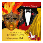 Black Tie Corporate Formal Masquerade Ball 3 Invitation