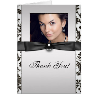Black Tie Damask Photo Thank You Cards