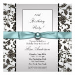 Black Tie Damask Womans 21st Birthday Party Invitations