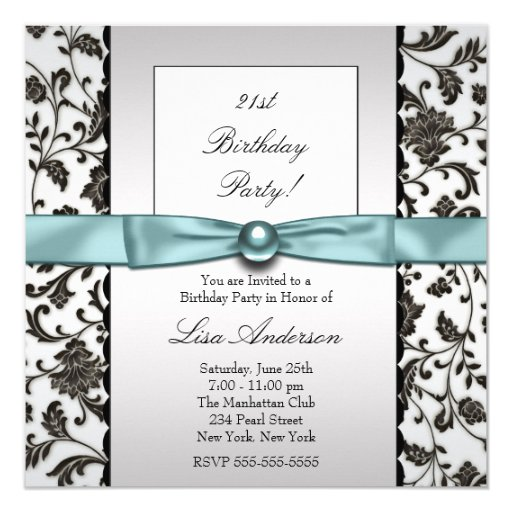 Black Tie Damask Womans Birthday Party Card