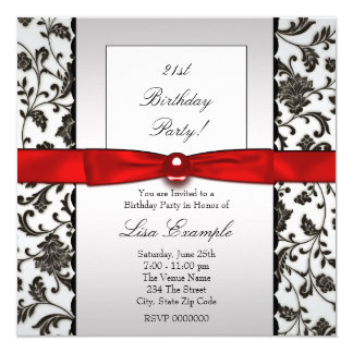 Black Tie Damask Womans Birthday Party Invitation