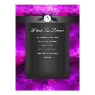 Black Tie Dinner Magenta Silver black Custom Invite