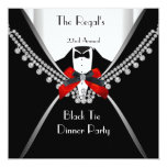Black Tie Dinner White Red Bow Party 2 Personalized Invite