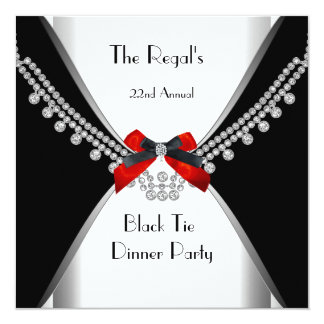 """Black Tie Dinner White Red Bow Party 3 5.25"""" Square Invitation Card"""