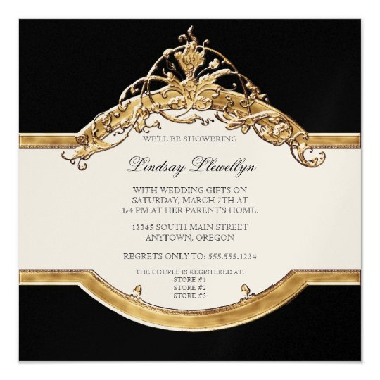 Black Tie Elegance 2, Golden Bridal Shower Invite