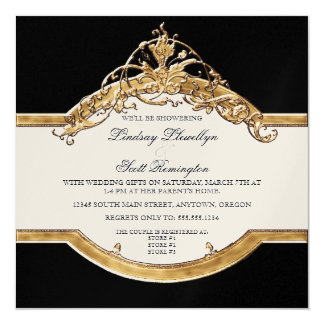 Black Tie Elegance 2, Golden Couples Shower Invite