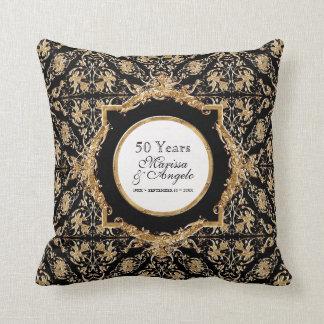 Black Tie Elegance 2 Golden Wedding Anniversary Throw Pillow