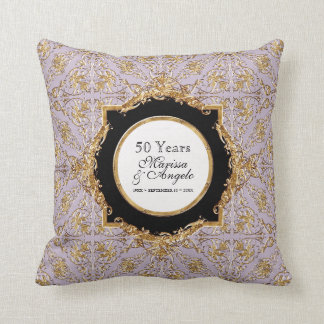 Black Tie Elegance 2, Golden Wedding Anniversary Throw Pillow