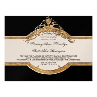 Black Tie Elegance 2, Golden Wedding Invitations