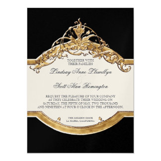Black Tie Elegance 2, Golden Wedding Invitations