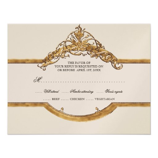 Black Tie Elegance 2, Golden Wedding RSVP Cards Personalized Invite