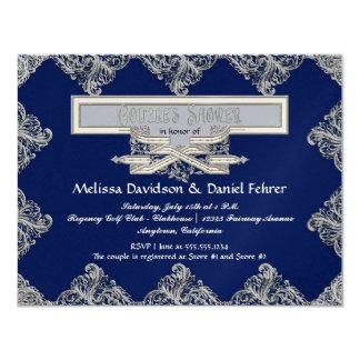 Black Tie Elegance 3 - Silver Look Vintage Damask 4.25x5.5 Paper Invitation Card