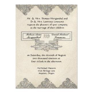 Black Tie Elegance 3 - Silver Look Vintage Damask 5.5x7.5 Paper Invitation Card