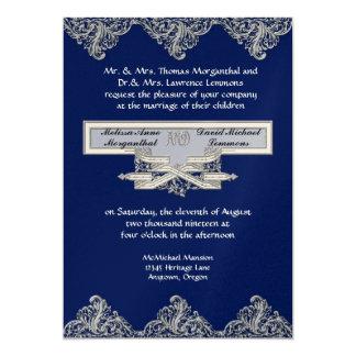 Black Tie Elegance 3 - Silver Look Vintage Damask 5x7 Paper Invitation Card