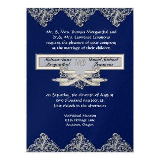Black Tie Elegance 3 - Silver Look Vintage Damask 6.5x8.75 Paper Invitation Card