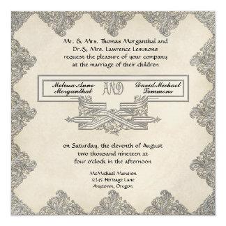 Black Tie Elegance 3 - Silver Look Vintage Damask Card