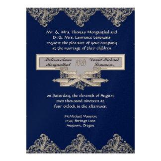 Black Tie Elegance 3 - Silver Look Vintage Damask Custom Invites