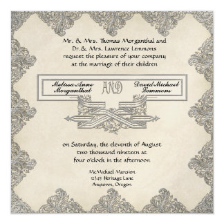 Black Tie Elegance 3 - Silver Look Vintage Damask Invitation