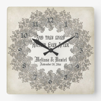 Black Tie Elegance 3 - Silver Look Vintage Damask Square Wall Clock