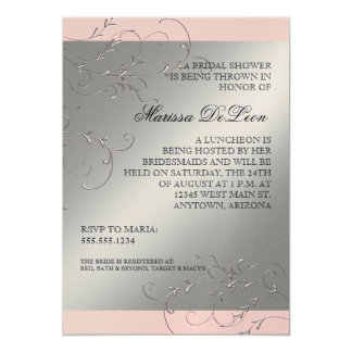 "Black Tie Elegance, Bridal Shower Invitations 5"" X 7"" Invitation Card"