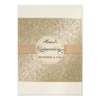 Black Tie Elegance, Champagne Cream Quinceanera 5x7 Paper Invitation Card