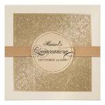 Black Tie Elegance, Champagne Cream Quinceanera Custom Invitation