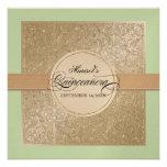 Black Tie Elegance, Champagne Cream Quinceanera Invitations