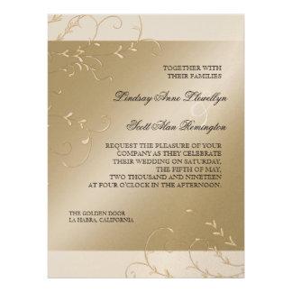 Black Tie Elegance, Champagne Cream Wedding Cards Personalized Invitation