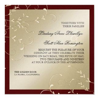 "Black Tie Elegance Champagne Wine Wedding Cards 5.25"" Square Invitation Card"