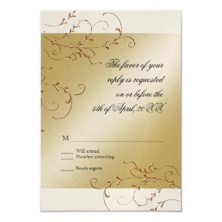 "Black Tie Elegance, Golden RSVP Response Card 3.5"" X 5"" Invitation Card"