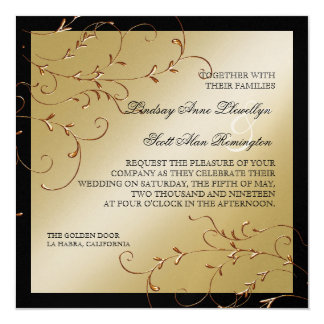 "Black Tie Elegance, Golden Wedding Invitations 5.25"" Square Invitation Card"