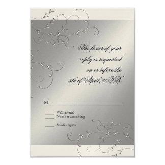 "Black Tie Elegance, RSVP Response Card 3.5"" X 5"" Invitation Card"