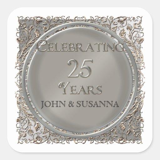 Black Tie Elegance, Silver Wedding Anniversary Square Stickers