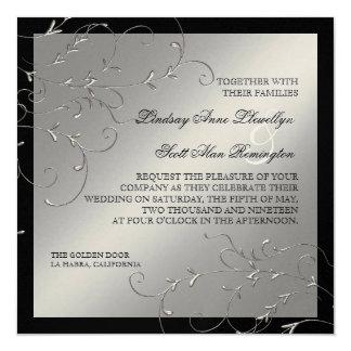 "Black Tie Elegance, Silver Wedding Invitations 5.25"" Square Invitation Card"