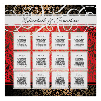 Black Tie Elegant Party 12 Table Seating Chart