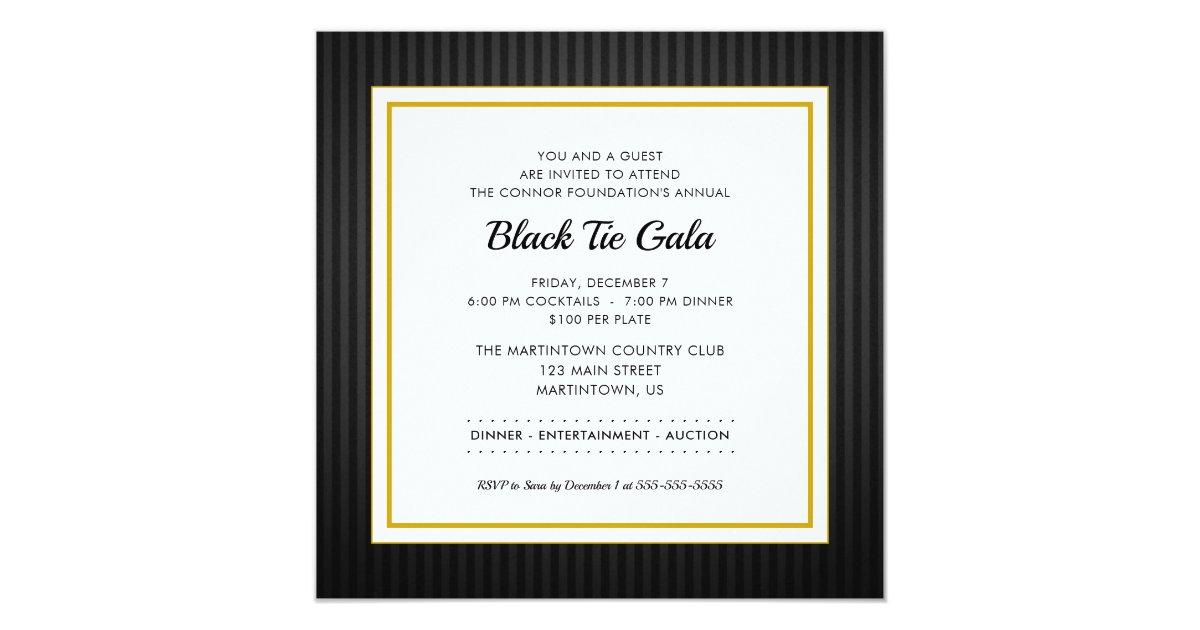 Black Tie Gala | Business Professional Dinner Invitation | Zazzle.com