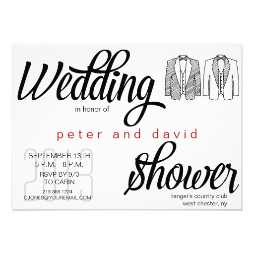 Black tie gay wedding shower invitation 45quot x 625 for Gay wedding shower invitations
