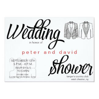 Black Tie Gay Wedding Shower Invitation