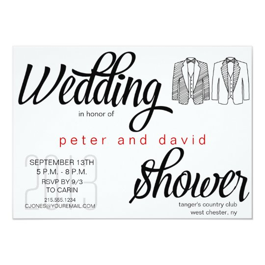 black tie gay wedding shower invitation
