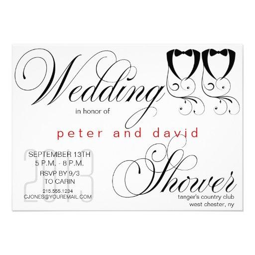 Black tie gay wedding shower invitation zazzle for Gay wedding shower invitations