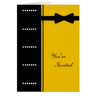 Black Tie Invitation (Gold) Greeting Card