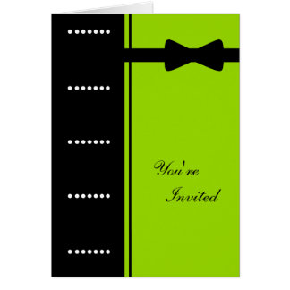 Black Tie Invitation (Lime Green) Greeting Card