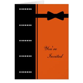 Black Tie Invitation (Orange) Greeting Card