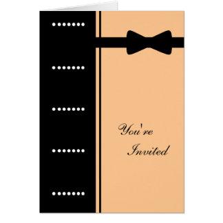 Black Tie Invitation (Peach) Greeting Card