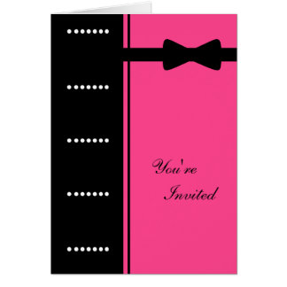 Black Tie Invitation (Pink) Greeting Cards