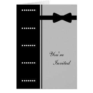 Black Tie Invitation (Silver) Greeting Card