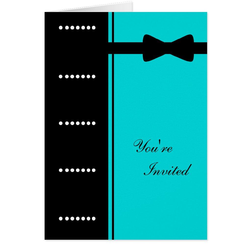 Black Tie Invitation (Turquoise) Card