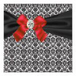 "Black Tie Party Red Black Damask Party Invitation 5.25"" Square Invitation Card"