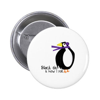 Black Tie Penguin Pinback Buttons